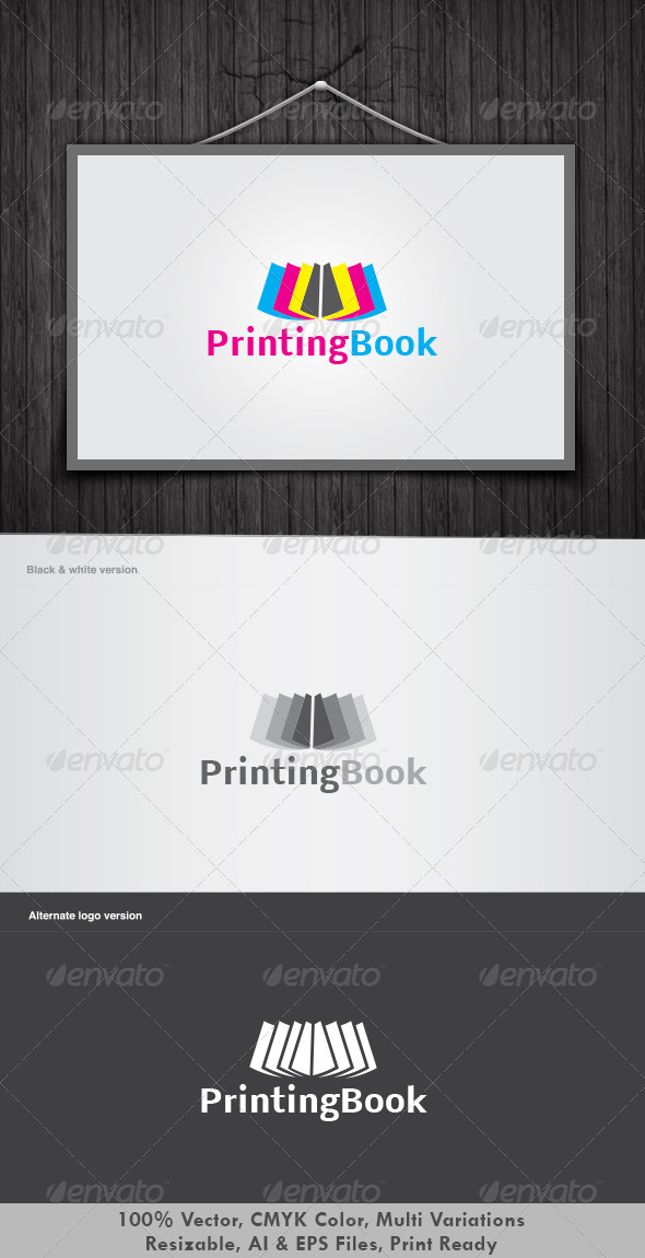 Printing Book Logo - Vector Abstract