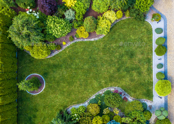Beautiful Residential Mature Garden Aerial View - Stock Photo - Images