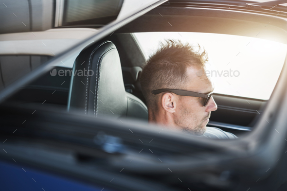 Summer Driving with Sunroof Opened - Stock Photo - Images