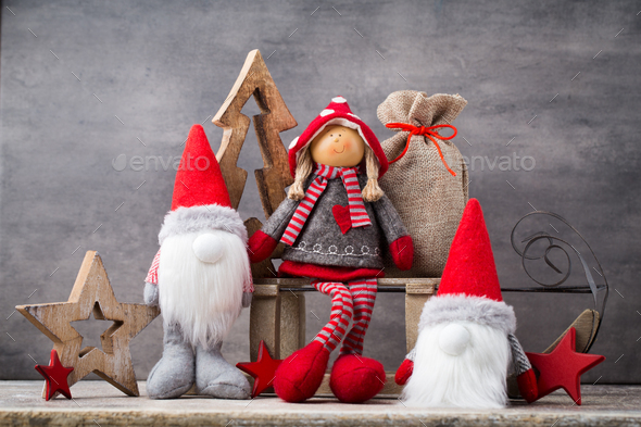 Christmas greeting card. Noel gnome background. Christmas symbol. - Stock Photo - Images