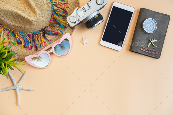 Travel accessories items with smartphone on color background and copy space, Summer vacation concept - Stock Photo - Images