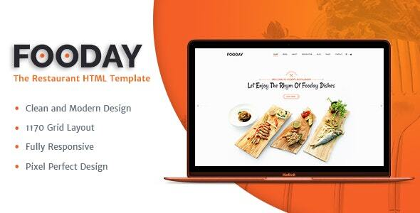 Extraordinary Fooday -  Restaurant HTML Template   Order Online & Reservations