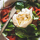 Italian salad with Buratta cheese in white bowl, close-up - PhotoDune Item for Sale