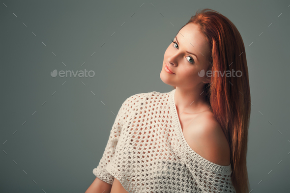 Gorgeous ginger woman on lilac background - Stock Photo - Images