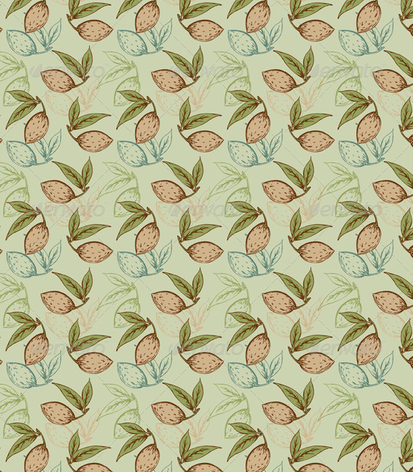 Seamless Pattern with Almond  - Patterns Decorative