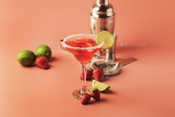 Strawberry red margarita alcoholic cocktail with tequila, liqueur, berries, lime juice - Stock Photo - Images