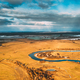 Europe. Aerial View Of Dry Grass And Partly Frozen Curved River Landscape In Autumn Day. High - PhotoDune Item for Sale