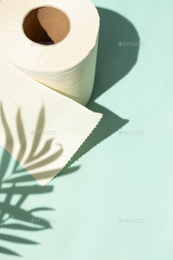 Bamboo Toilet Paper with Shadows of Palm Leaves. - Stock Photo - Images