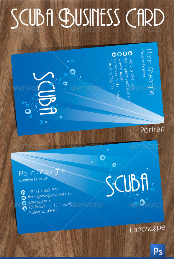Scuba Business Card - Corporate Business Cards