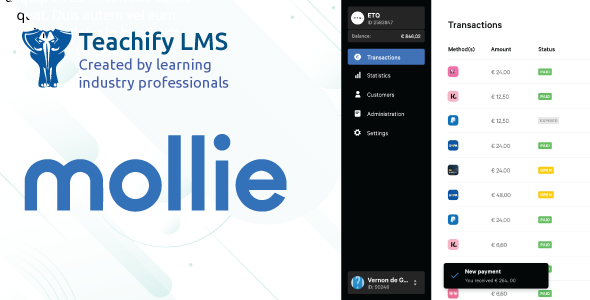 Mollie Payment Gateway for Teachify LMS