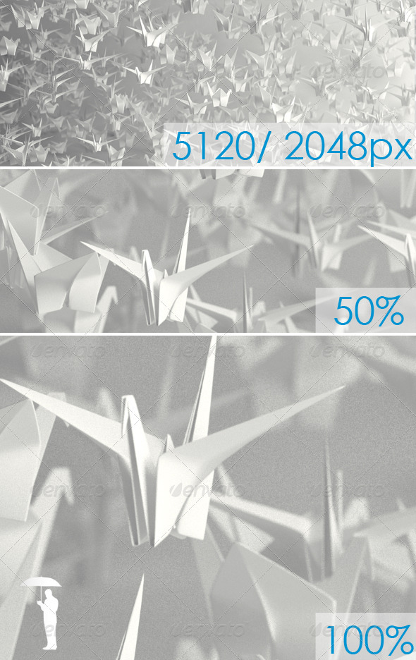 Origami Cranes - 3D Backgrounds
