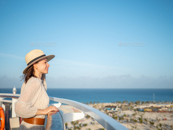 Happy girl to the viewpoint - Stock Photo - Images
