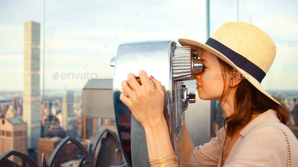 Attractive girl at viewpoint, NYC - Stock Photo - Images