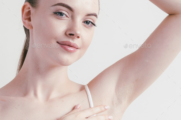 Armpits woman beautiful body depilation arms up female beauty - Stock Photo - Images
