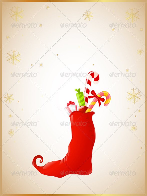Christmas Background with Red Sock and Gifts - Christmas Seasons/Holidays