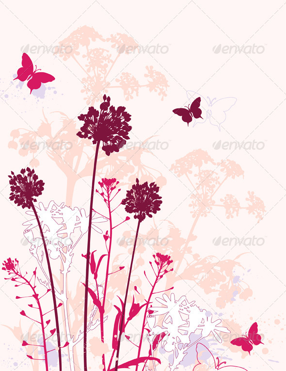 Red Floral Background  - Flowers & Plants Nature