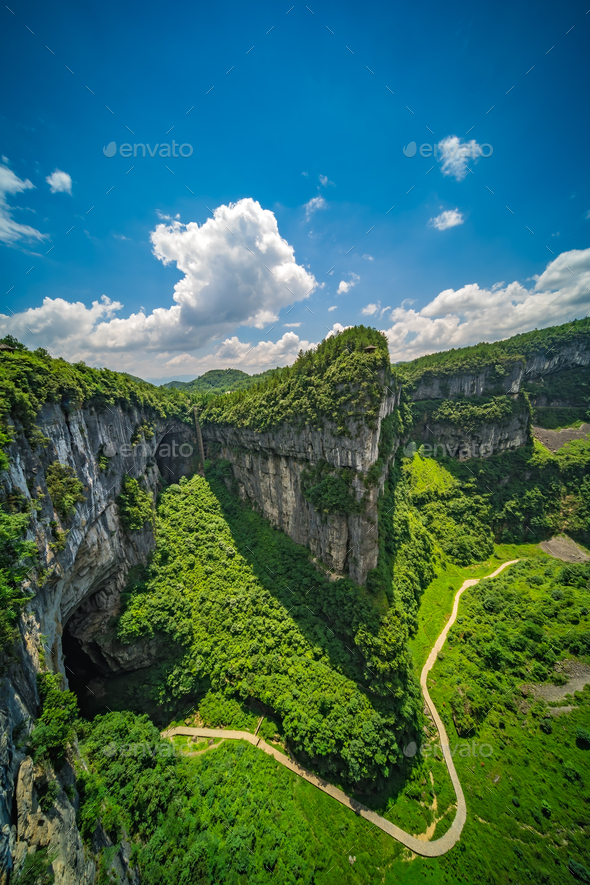 Panoramic view of the Wulong National Park landscape - Stock Photo - Images