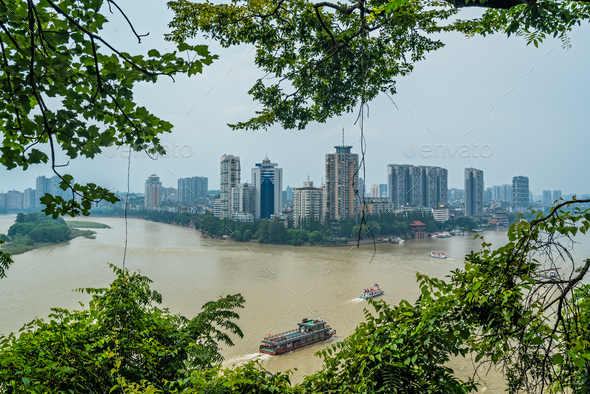 View of Leshan town in summer, China - Stock Photo - Images