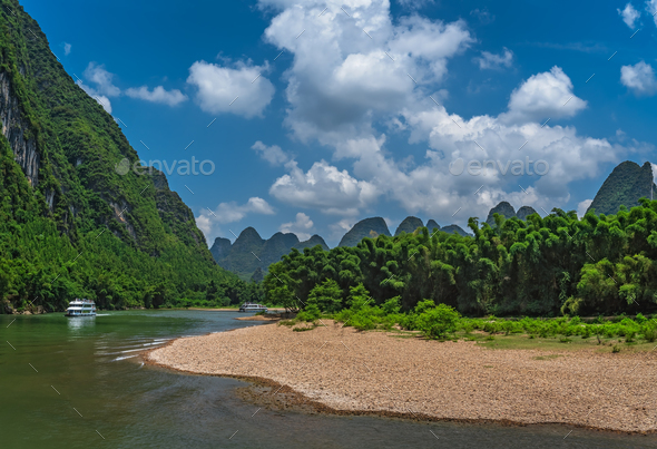 The turn of Li River in China - Stock Photo - Images