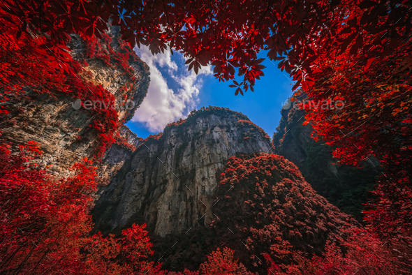 Massive vertical rock walls in Wulong National Park in autumn - Stock Photo - Images