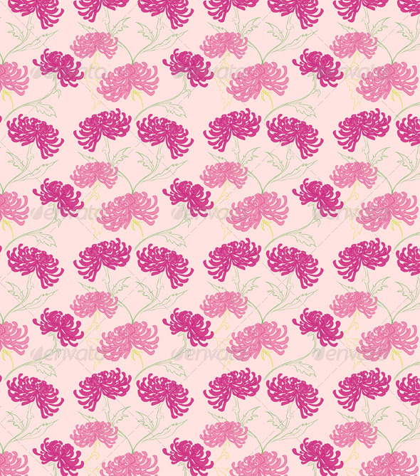 Vector Seamless Pattern with Flowers  - Patterns Decorative