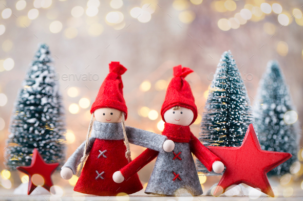 Christmas greeting card. Gnome festive background. New year symbol. - Stock Photo - Images