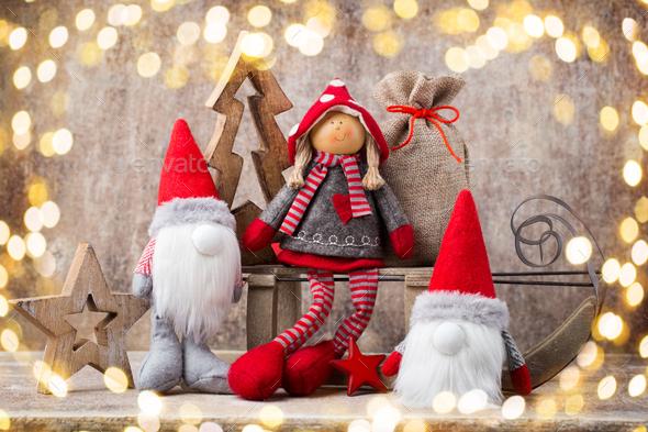 Christmas greeting card. Noel gnome background. Christmas symbol. - Stock Photo - Images