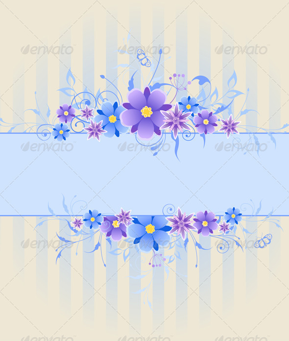 Background with Violet and Blue Flowers - Backgrounds Decorative