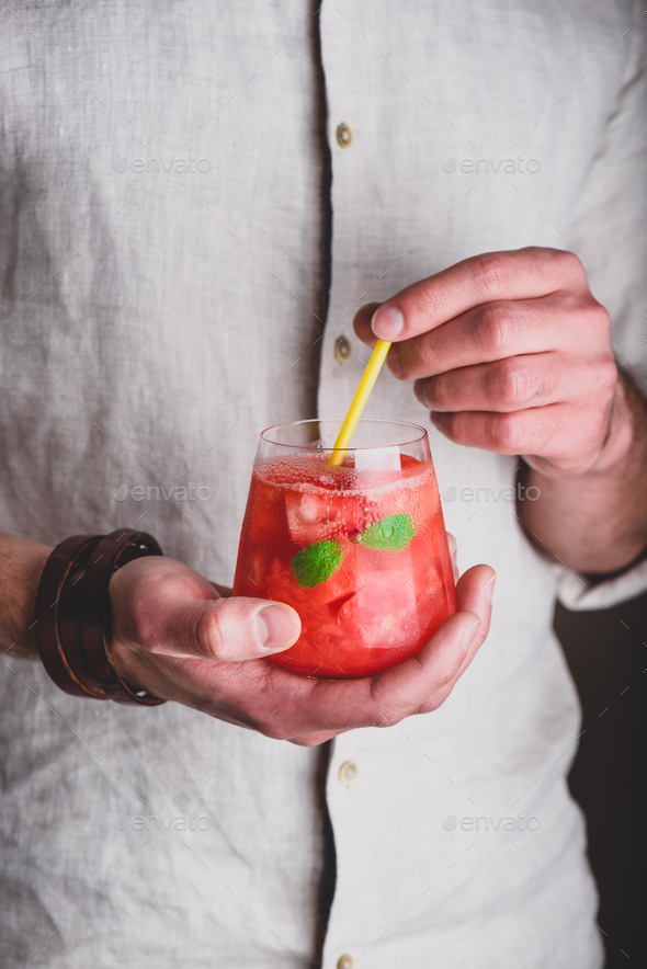 Glass of watermelon cocktail - Stock Photo - Images