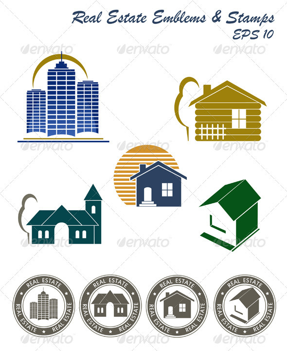 Real Estate Emblem And Stamp Set - Buildings Objects