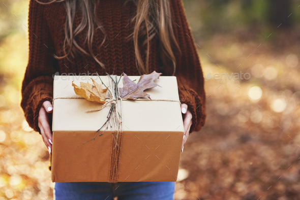 Detail of autumnal wrapped gift - Stock Photo - Images