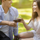 Young couple drinking red wine at park, focus on glasses with beverage - PhotoDune Item for Sale