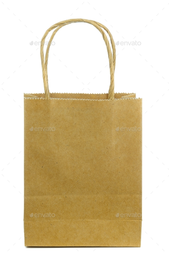 A Brown Paper Shopping Bag - Stock Photo - Images