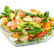 Salad with avocado, shrimp, fresh cherry tomatoes and arugula in glass bowl isolated on white - PhotoDune Item for Sale