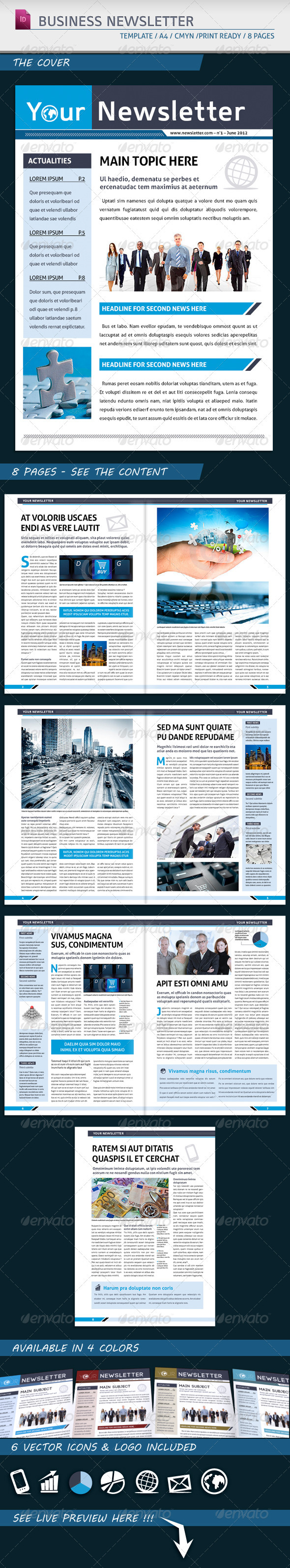 Modern Business Newsletter Template A4 - Newsletters Print Templates