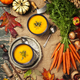 Vegetable or pumpkin soup and ingredients, flat lay - PhotoDune Item for Sale