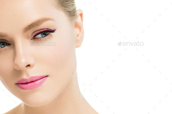 Woman beauty clean skin portrait lashes e[tension beautiful eyes face - Stock Photo - Images