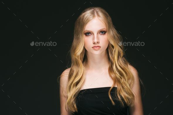 Blonde hair woman beautiful face long hair - Stock Photo - Images