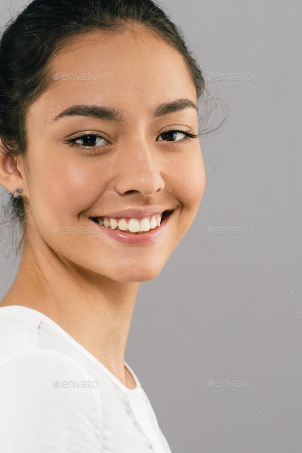 teeth smile woman beautiful skin face - Stock Photo - Images