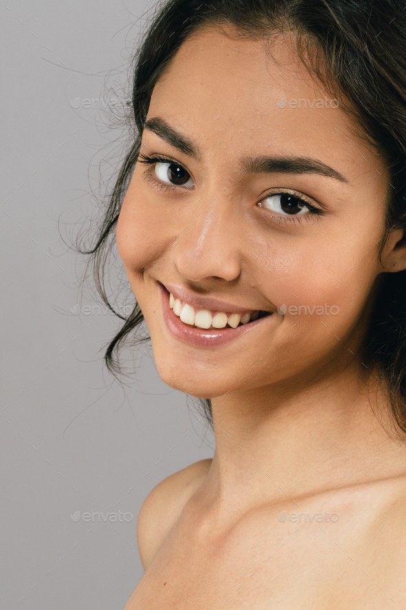 Skin care woman beauty face happy smile - Stock Photo - Images