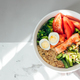 Fish salad bowl with salmon, couscous, salad mix, green beans, broccoli, tomatoes, quail eggs - PhotoDune Item for Sale
