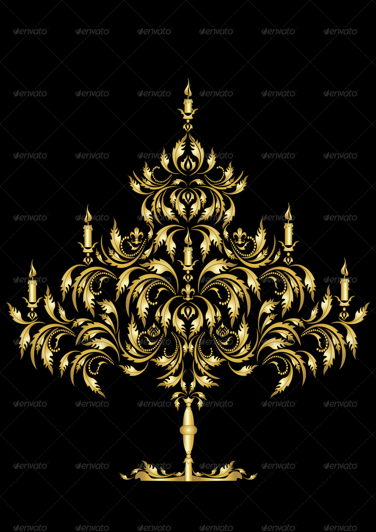 Gold Gothic Christmas Tree on Dark Background.
