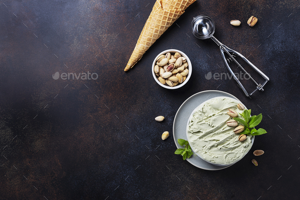 Homemade ice cream with pistachio and mint - Stock Photo - Images