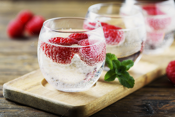 Fresh summer soda cocktail with raspberry - Stock Photo - Images