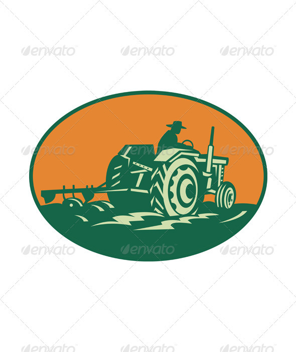 Farmer Worker Driving Farm Tractor - Industries Business