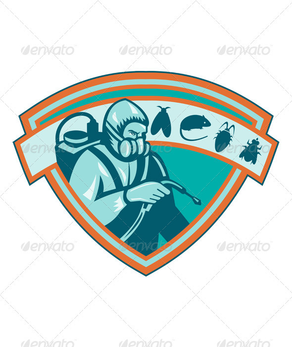 Pest Control Exterminator Worker Shield - Industries Business