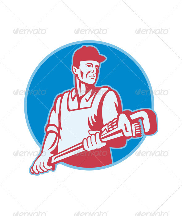 Plumber Worker Monkey Wrench Retro - Industries Business