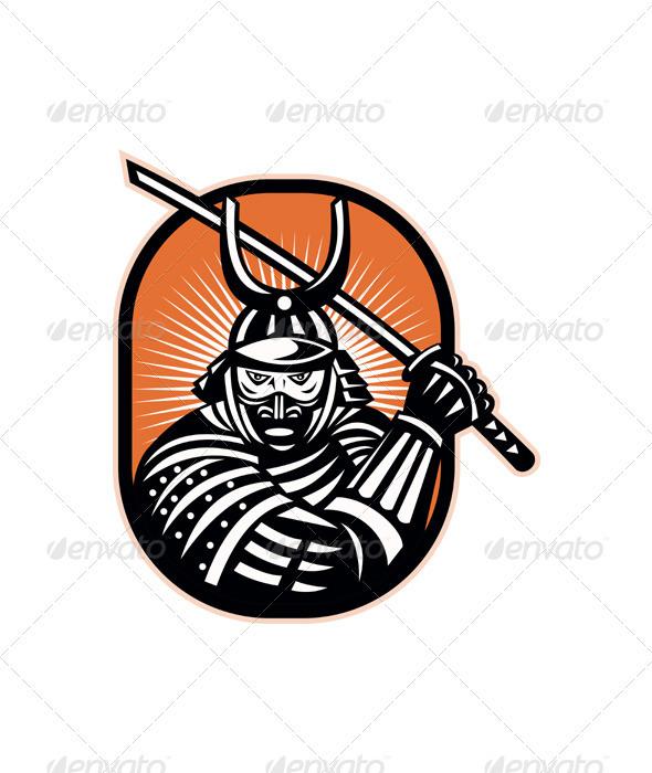 Japanese Samurai Warrior Sword Retro - People Characters