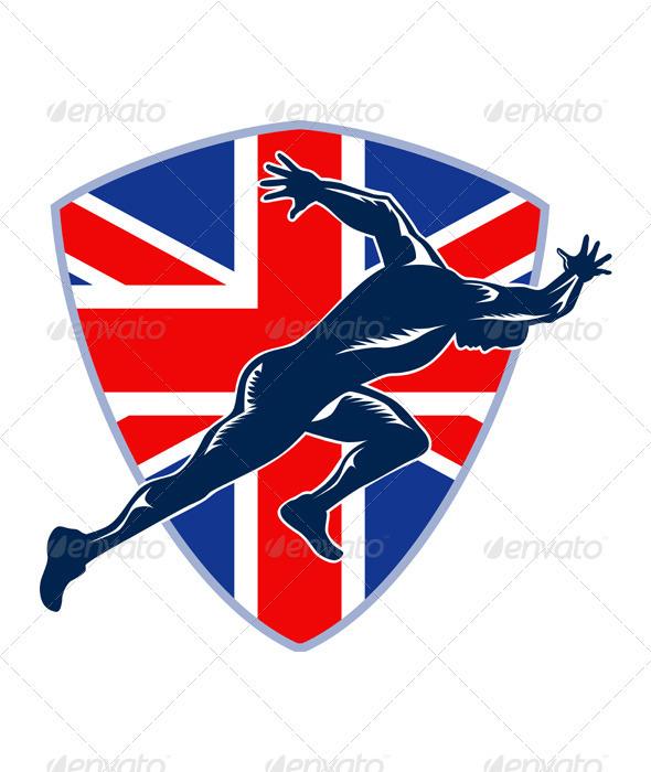 Runner Sprinter Start British Flag Shield - Sports/Activity Conceptual
