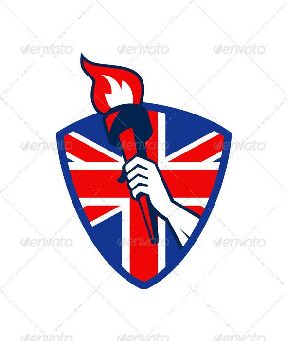 Hand Holding Flaming Torch British Flag - Decorative Symbols Decorative